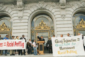 San Francisco Public Defender Jeff Adachi led a rally on the steps of City Hall July 12, 2007, to oppose the City Attorneys proposed gang injunctions. Adachi has long been an outstanding defender and supporter of the Citys beleaguered Black community. Photo: John Han, Fog City Journal