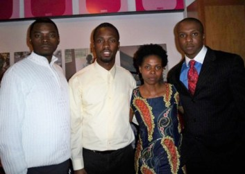 Congo strong! Kambale Musavuli (second from right) with colleagues Franklin, Amini Kajunju and Patrick Tshilenge