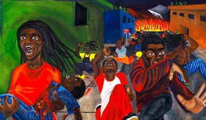 This powerful painting by Hunters Point artist Malik Seneferu, entitled Free Haiti! is currently on exhibit at the Bayview Opera House, 4705 Third St., San Francisco.