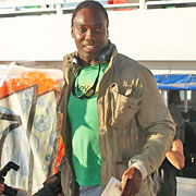 "Jamaican-British filmmaker Ishmahil Blagrove boards the Spirit of Humanity June 29, intending to take aid to Gaza. One of the Free Gaza 21, who were abducted by the Israeli Navy and held in Israel's Ramle Prison for a week, he told Sky News via a cell phone provided by British consular services, ""Africans, like Palestinians, are being persecuted by the Israeli government and the world needs to know."" He says the Israeli prison population is 90 percent Black."