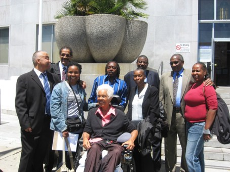 Francisco Torres, Ray Boudreaux, Richard Brown, Harold Taylor and Hank Jones of the SF 8 and supporters Wanda Sabir, Kiilu Nyasha, Soffiyah Elijah and Nadra Foster emerge from the courthouse Monday, July 6, after hearing the prosecution admit there is insufficient evidence to sustain nearly all the charges. – Photo: Wanda Sabir