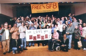 """We love you, Jalil,"" said the crowd of SF 8 defendants and supporters celebrating on Sept. 23, 2007, the release on bail of six of the brothers, while Jalil Muntaqim and Herman Bell had to stay behind, still political prisoners serving over three decades as two of the New York 3. A similar photo with a banner for Herman was taken that night."