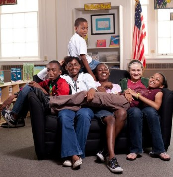 Rethinkers in the library at Green Elementary. From left: Leon Cooper, Rene Smith, George Carter III, Jada Cooper, Lucy Tucker and Victoria Carter. – Photo: Colin Lenton, 2009
