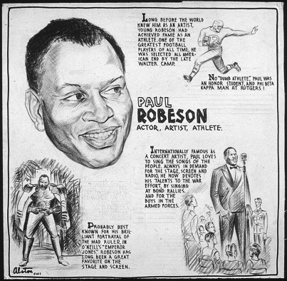 Paul Robeson: Editorial drawing by renowned Black artist Charles Henry Alston, 1943