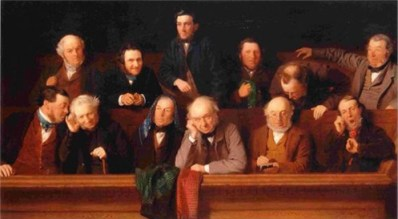 "Thanks to jury-rigging district attorneys, far too many Black defendants today are judged and sentenced by white male juries that look a lot like this one. – Painting by John Morgan, ""The Jury"""