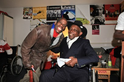Artists, activists and journalists Leroy Moore of the U.S. and Staff Benda Balili of the Congo meet in Copenhagen, Denmark. – Photo: Pamela Juhl