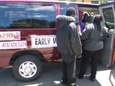 APRIs infamous Early Voting van is used, according to many reports over the years, to coerce public housing residents into going to City Hall to vote according to APRIs instructions. In this photo, taken May 29, 2008, APRI was helping Lennar get out the vote for Proposition G to permit Lennar to develop a huge swath of land in Bayview Hunters Point and against Proposition F, a grassroots initiative that would have required Lennar to make half the homes it proposes to build affordable to people currently living in the neighborhood. By spending over $5 million on the June 3 election, Lennar succeeded in winning passage of Prop G and defeating Prop F.