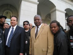 Assemblymembers Joe Coto and Sandre Swanson of the Latino and Black Caucuses were happy that the Caravan for Justice brought the peoples demands directly to intractable lawmakers.  Photo: Francisco Da Costa