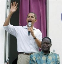 On a visit to Kenya in August of 2006, Barack Obama was hosted by Raila Odinga, son of Oginga Odinga, and is said to have spoken in praise of him at rallies in Nairobi, for which Obama is roundly condemned in the right-wing blogosphere.
