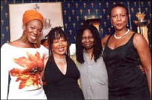 "Preparing for the eagerly awaited East Coast revival of ""colored girls"" on Broadway last summer – a revival that had to be postponed – are two-time Grammy winner Idia.Arie, who was to make her Broadway debut in the production; playwright Ntozake Shange, who updated the script; Whoopi Goldberg, producer; and Shirley Jo Finney, director. Come to the West Coast revival at the Black Repertory Theatre this Saturday for the 2:30 matinee, a BENEFIT for the BAY VIEW newspaper."