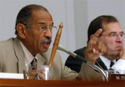 Rep. John Conyers chairs a Judiciary Committee hearing on Capitol Hill in 2004. Conyers released a report on Aug. 4, 2006, that details every alleged instance of wrongdoing by the Bush administration during the run-up, prosecution and aftermath of the Iraq war. – Photo: Dennis Cook, AP