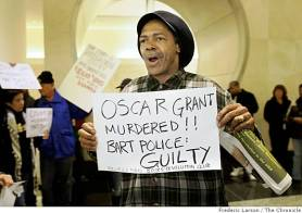 "Mubarak Ahmad and dozens of others who protested the murder of Oscar Grant at BART headquarters in Oakland on Monday aren't falling for the ""Taser excuse."" – Photo: Frederic Larson, The Chronicle"