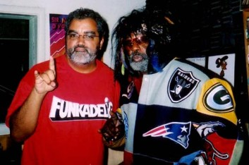 Rickey Vincent hosts George Clinton for a jam session in October 2003 on Rickey's KPFA show, The History of Funk, broadcast every Friday at 10 p.m.