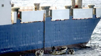 "Somali pirate ""ships"" are small, but the ships they seize are huge. They held one gigantic tanker for months until ransom was paid."
