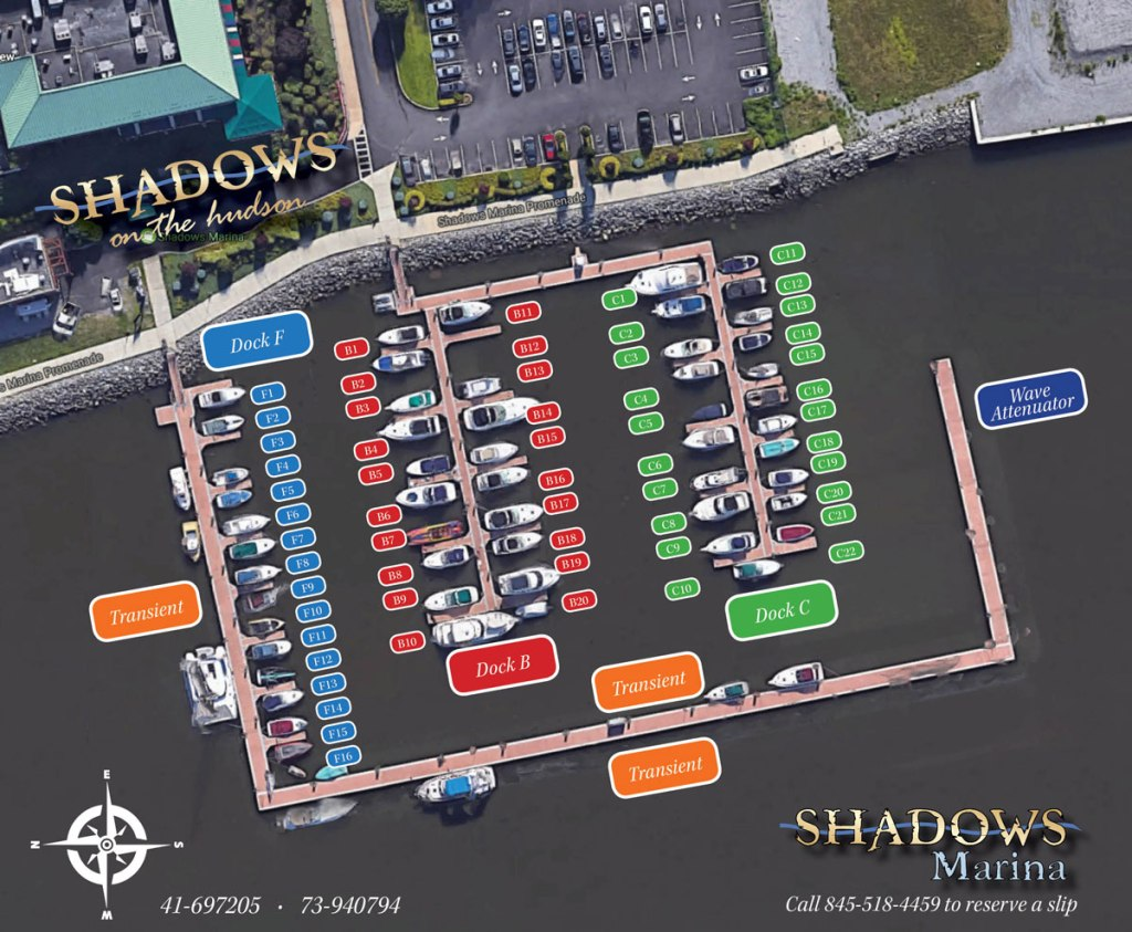 Shadows Marina in Poughkeepsie NY Slip Layout