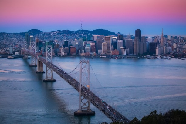 San Francisco Bay Bridge Aerial Sunrise City