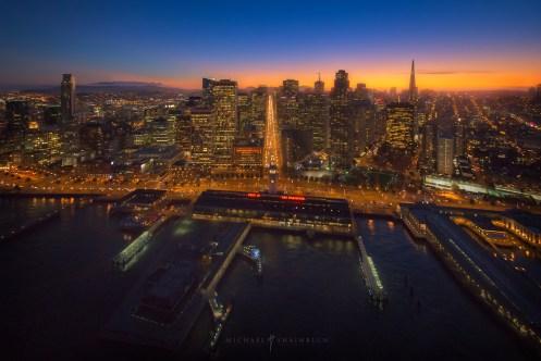 San Francisco Market Street Aerial Sunset