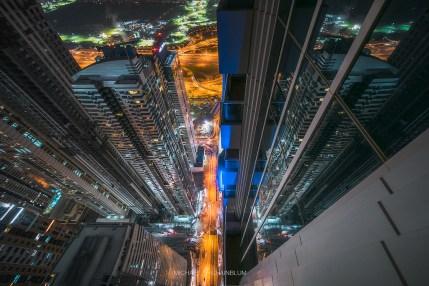 Dubai Marina City Aerial Night