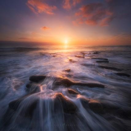 San Diego Beach Sunset Waves