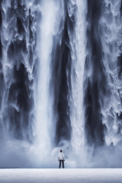 Skógafoss self portrait, waterfall in Iceland.