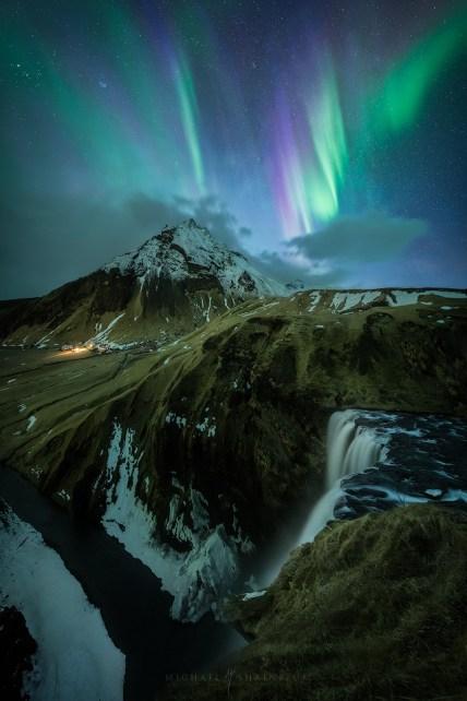 Aurora Skógafoss Iceland Landscape Photography