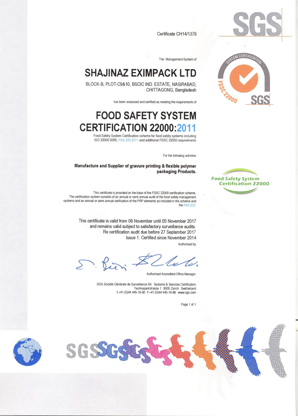 Shajinaz Food Safety Certificate