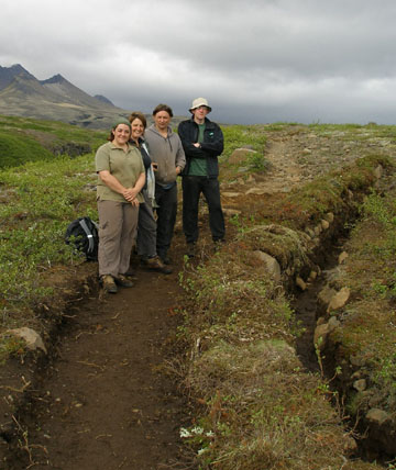 Here we are on a finished section of trail: we dug the drainage ditch on the right, widened and flattened the trail to keep people on it (concentrating their impact to protect the rest of the area), and replanted the turfs to form that ridge between the path and the drain.