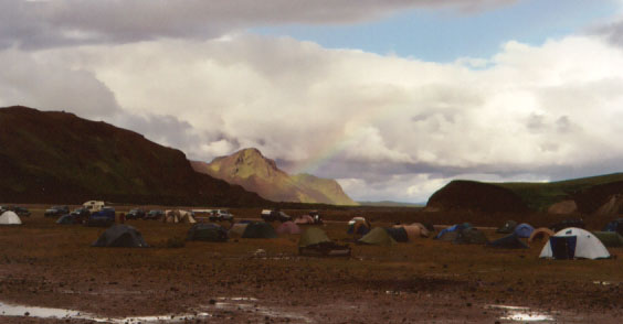 A rainbow gracing our campsite....