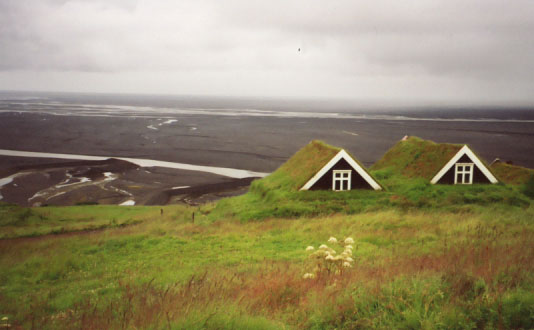This is the Sel Farmhouse, a historic monument to the traditional turf homes. Trees are scarce in Iceland, so there was no wood (other than driftwood from shipwrecks on Iceland's rocky coastlines) for building. But there was plenty of dirt.