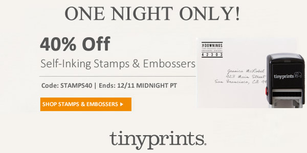 40% Off Tiny Prints Stamps - One Night Only