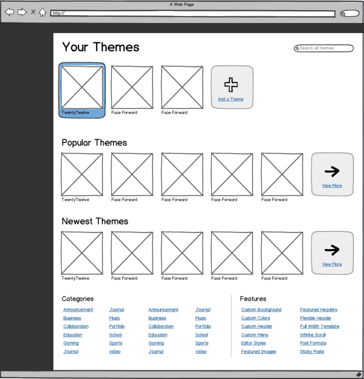 Theme Browser Wireframe