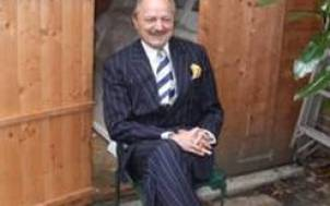 Peter Bowles in his shed