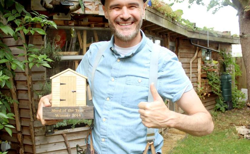 Shed of the year winner 2014 Joel Bird exhibits art made in his shed