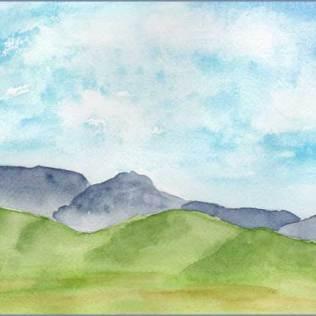 The Hills Are Alive. 6 x 8 Watercolor on Arches 140 lb. cold pressed paper. © 2016 Sheila Delgado
