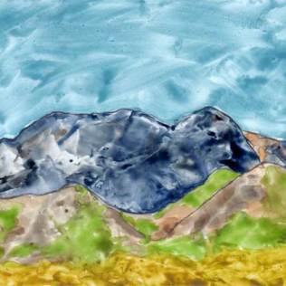 Tapering Storm. 5 x 7 in. watercolor on Yupo. 2016 Sheila Delgado
