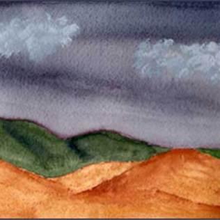 Stormy Sky. 4 x 8 in. watercolor on Arches 140 lb. cold pressed paper. © 2016 Sheila Delgado