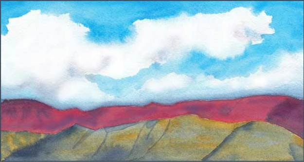 Red Sunset l . 4.25 x 8 in. watercolor on Arches 140 lb. cold pressed paper. © 2017 Sheila Delgado