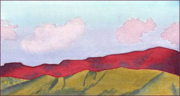 Red Sunset. 4.25 x 8 in. watercolor on Arches 140 lb. cold pressed paper. © 2017 Sheila Delgado