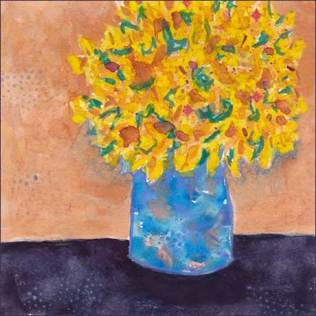 Bright Vase re-do. 5 x 5 watercolor on Arches 140 lb. cold pressed paper. © 2017 Sheila Delgado