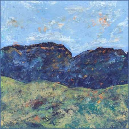Mountains. 6 x 6 acrylic on paper. © 2017 Sheila Delgado