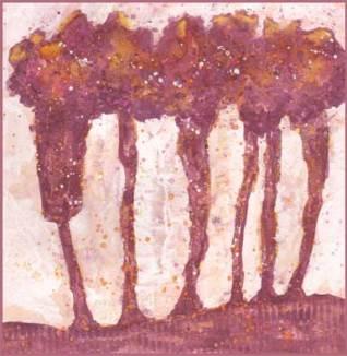 Trees. 6 x 6 mixed media on paper. © 2017 Sheila Delgado