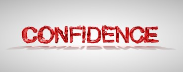 Red confidence word destruction over grey background