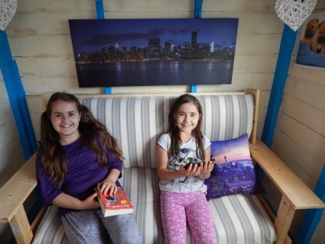 Kaycee and Ella enjoying their shed