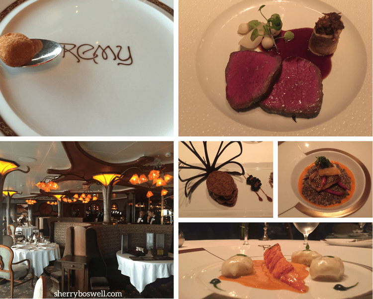 dine at Remy on your Disney cruise Remy dishes collage