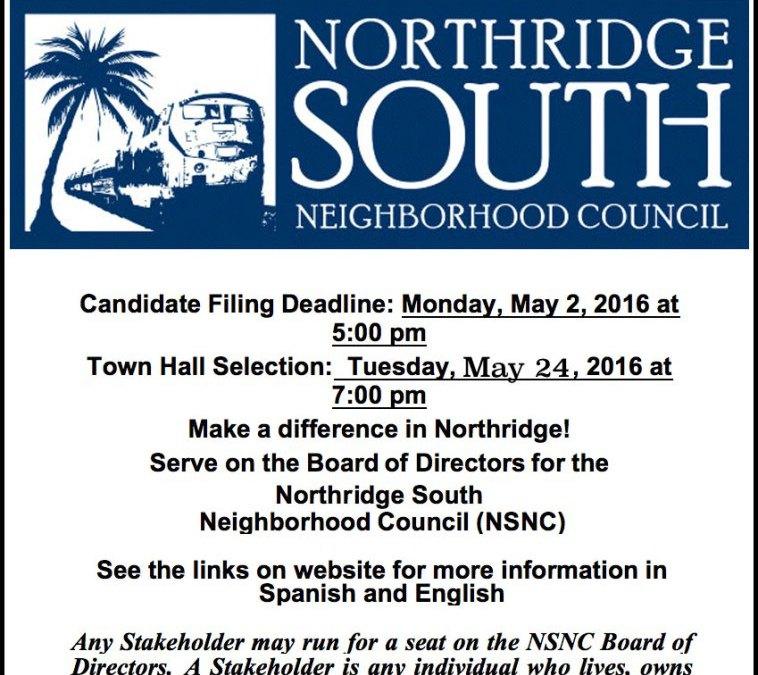 Northridge South Neighborhood Council Board of Directors Selection Notice