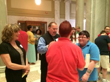 Randy Eddy-McCain performing marriages at the state capitol in Little Rock