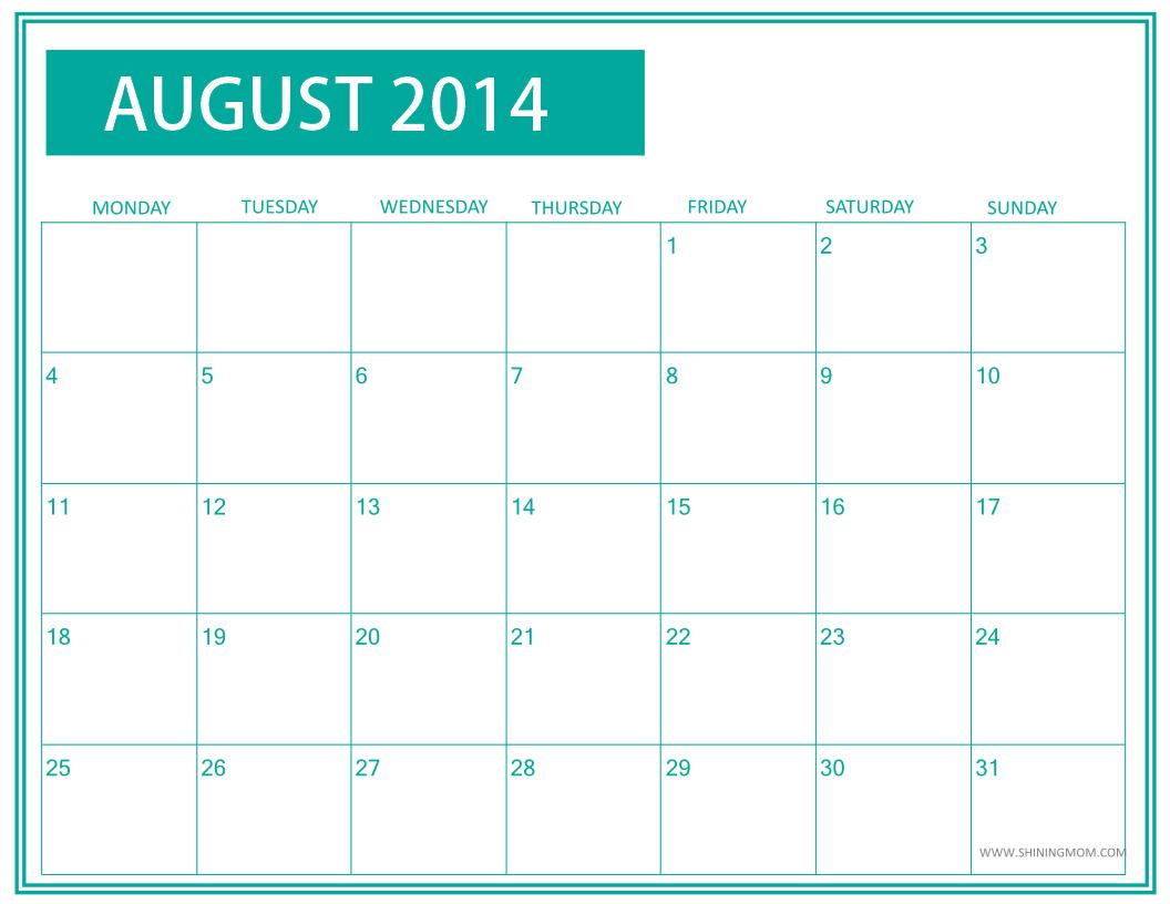 August Calendar 2014 : Fresh designs august calendar by shining mom