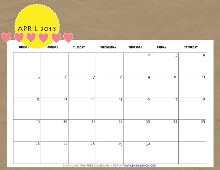 Calendar April 2015 : Free printable april calendar by shining mom