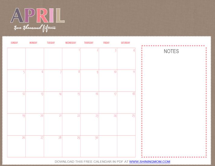 Calendar April 2015 : Free printable april calendar by shining mom