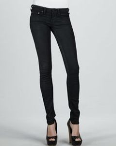 Buy True Religion Halle Black Clear Coat High-Rise Skinny Jeans from Neiman Marcus
